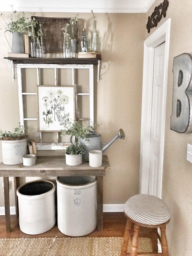 window on wall with shelf