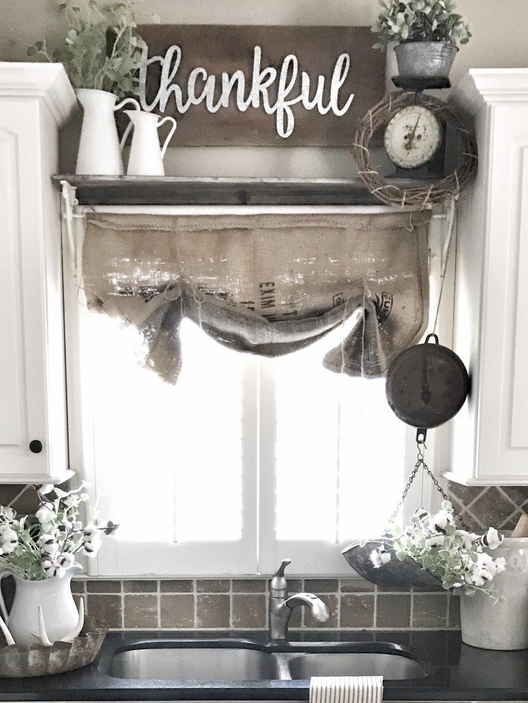 close up of burlap curtain hung
