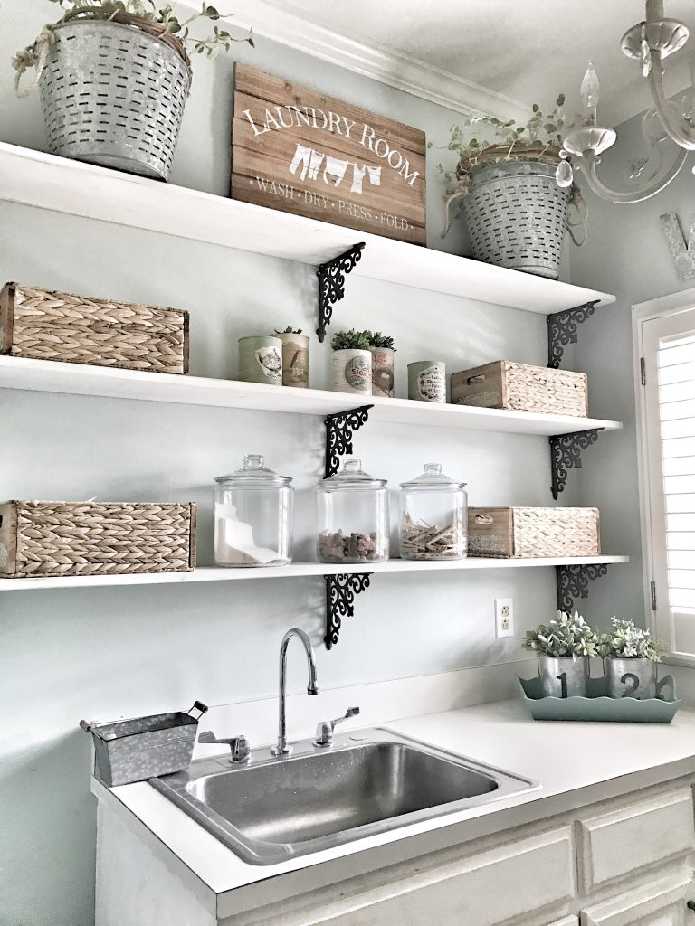 open shelving with laundry supplies