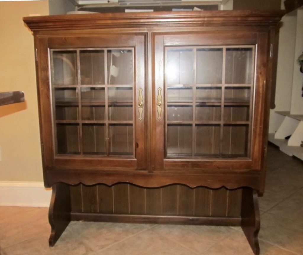 original brown wooden hutch before picture