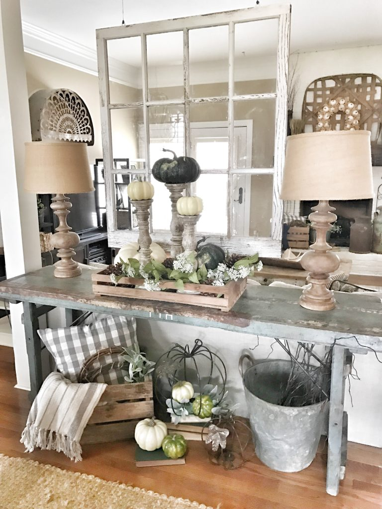 farmhouse fall console table with pumpkins