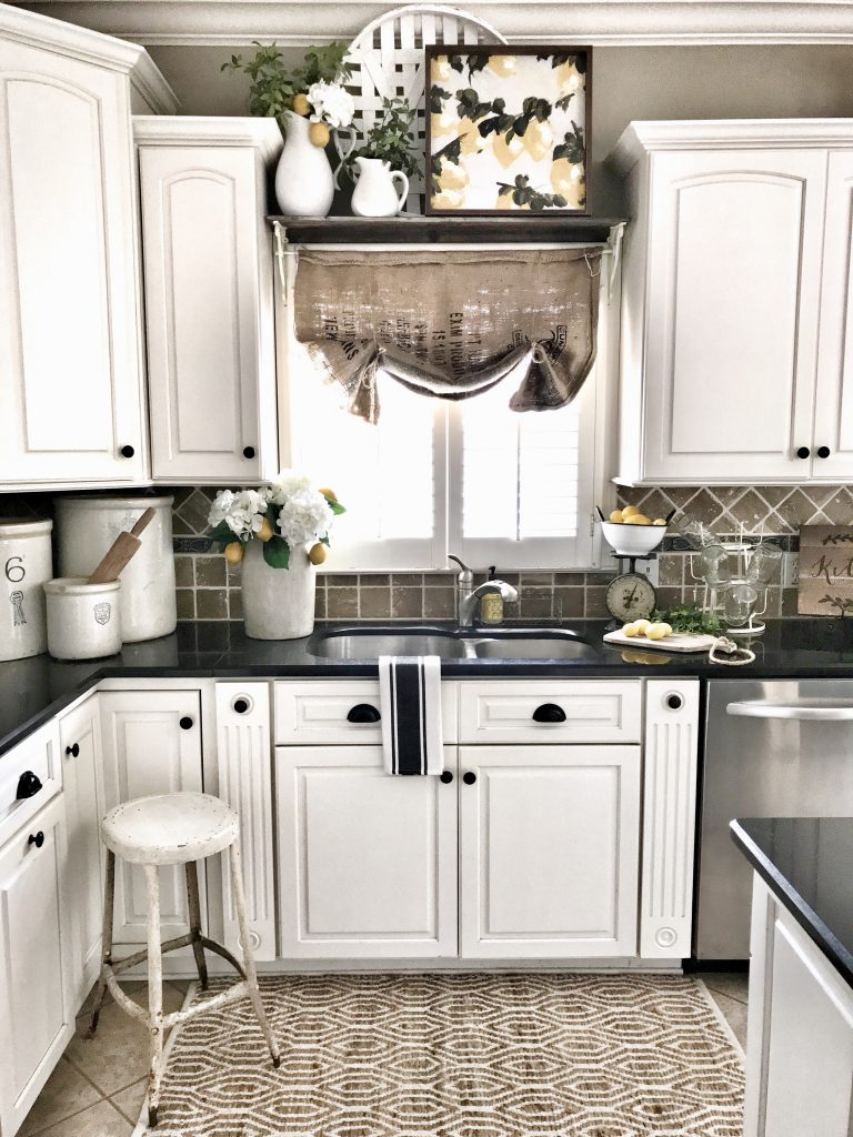 lemon decor in kitchen sink area