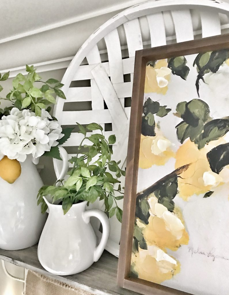 close up of lemon decor and lemon print
