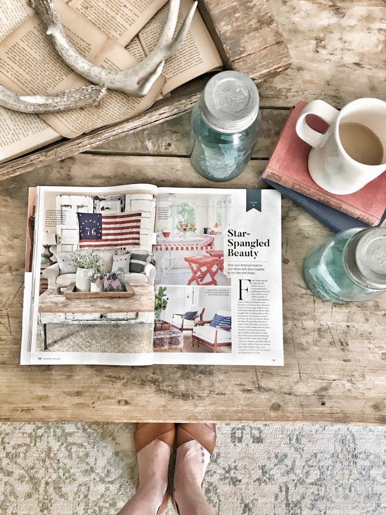 magazine displayed on coffee table