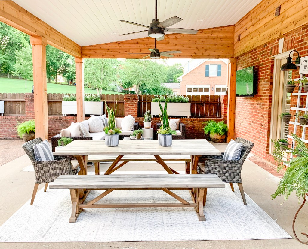 outdoor space of dinging room table and sectional