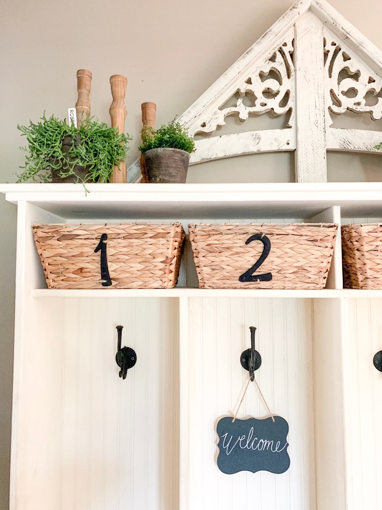 numbered baskets in cubbies