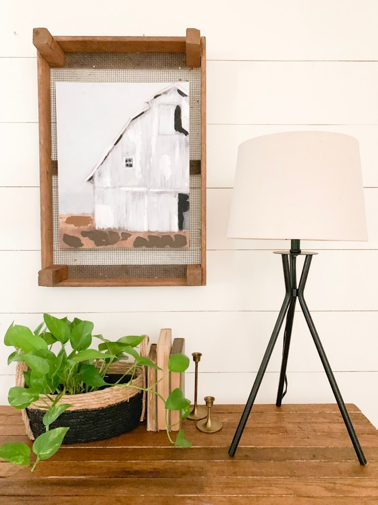barn picture in crate tray wall decor