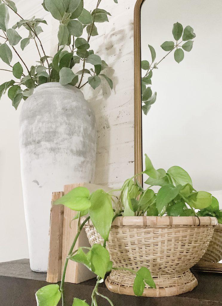 basket planter on mantel
