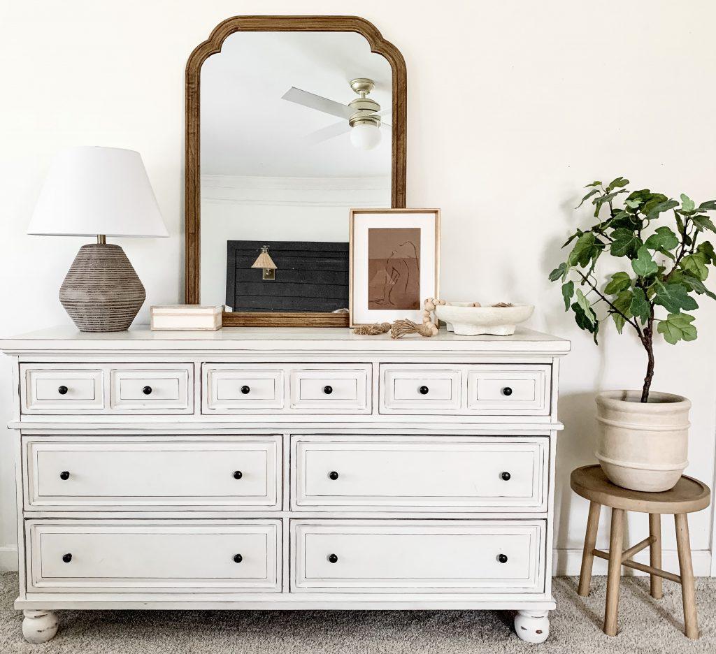 Target home decor on dresser