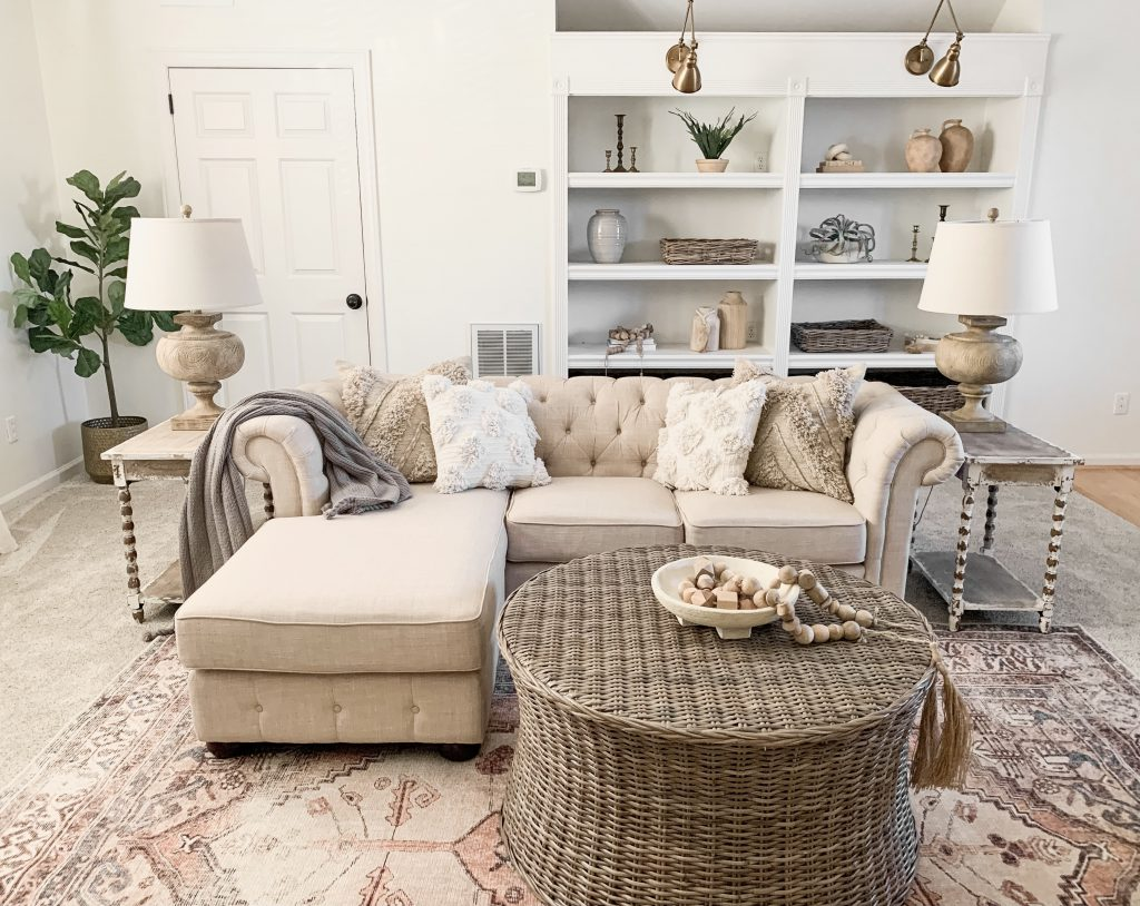 sofa and coffee table on area rug
