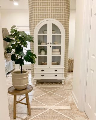 Part 2 of my master bathroom reveal!  This is the view right when you walk in, and I still can't get over how much it has changed. I found this cabinet for $125 on Facebook Marketplace and it fits this little space perfectly. Swipe left to see a few more pictures. You can also see the full tour on the blog! Link in profile!   #modernfarmhouse #farmhousestyle #interior123 #bhghome #antiquefarmhouse #homedecor #shiplap #farmhouseinspired #farmhousedecor #magnoliahome #neutraldecor #americanfarmhousestyle #prettylittleinteriors #fixerupper #countrylivingmagazine #mydecorvibe #currentdesignsituation #betterhomesandgardens #ltkhome #moody_tones